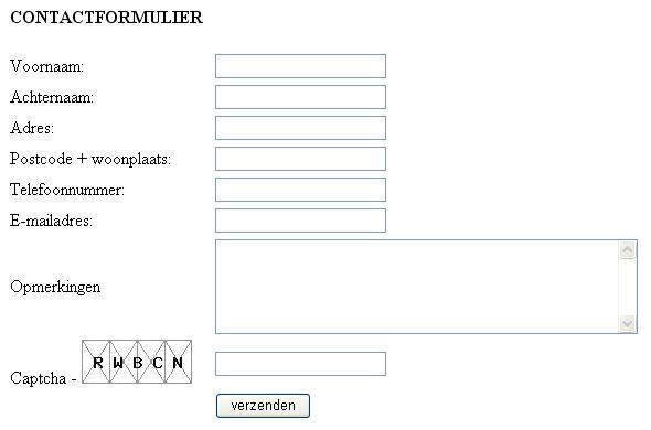 Contactformulier met spam beveiliging