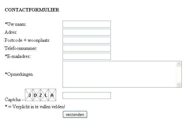 Nog een gratis HTML en PHP contactformulier
