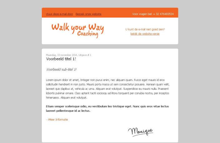 Walk your Way coaching nieuwsbrief screenshot